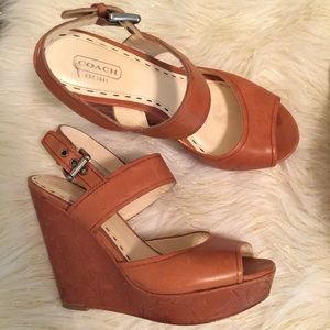COACH platform wedge strappy heels sandals shoes
